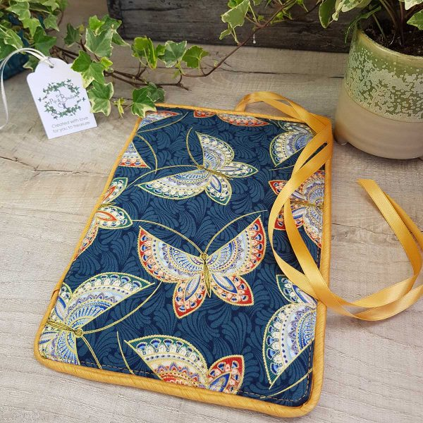 Jewellery roll Blue Butterflies Gold Personalised embroidery