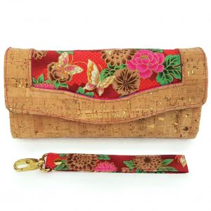 Clutch wallet (Cork & red butterfly)