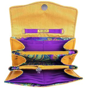 Clutch wallet (Mustard with leaf print)