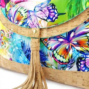 Hobo bag Short in vegan cork leather and colourful butterfly print