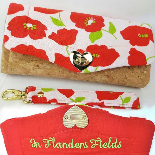 Clutch-Wallet---Purse-(Up-cycled-Fabrics-&-Cork)-poppies