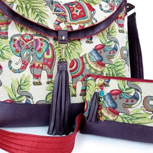 luxury handmade elephants hobo bag with embroidered personalised affirmation