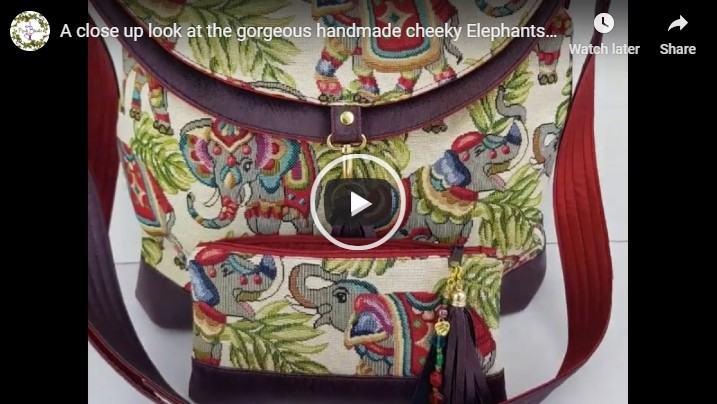 luxury handmade elephants hobo bag with embroidered personalised affirmation youtube cover