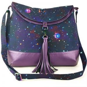 Hobo Bag large (Galaxy & Purple faux leather)