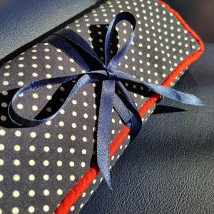 Jewellery Roll (Navy Polka Dot)