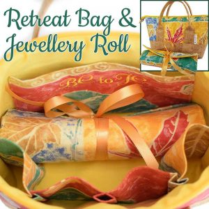 Retreat Bag & Jewellery Roll set (Up-cycled fabrics & Cork)