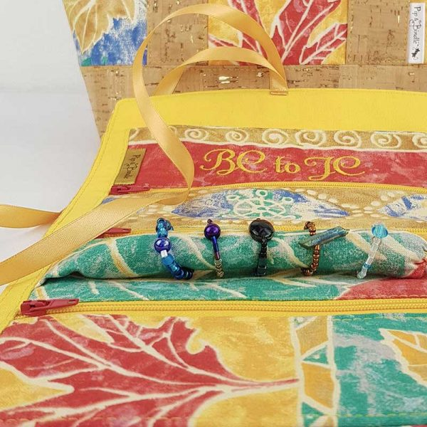 jewellery roll made in customers up-cycled autumn leaves fabric