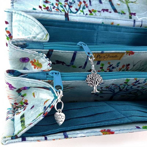 a stunning Clutch Wallet made in (Rainbow trees fabric & iridescent hardware)