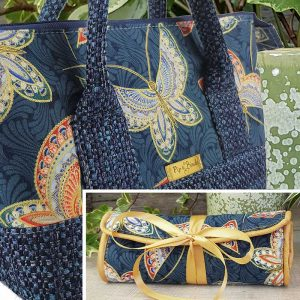 Retreat Bag & Jewellery Roll set (Blue Butterflies)