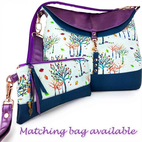 Luxury handmade accessory pouch and hobo bag in colourful Rainbow trees fabric and cork leather