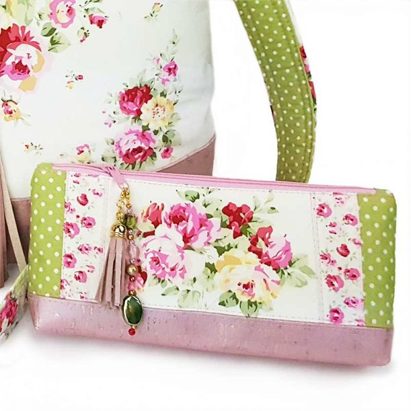 Luxury handmade accessory pouch in upcycled, recycled fabrics, eco friendly, save the planet, dainty floral print
