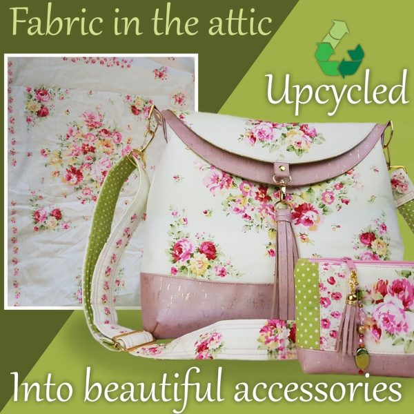 Luxury handmade accessory pouch and hobo bag in upcycled, recycled fabrics, eco friendly, save the planet, dainty floral print