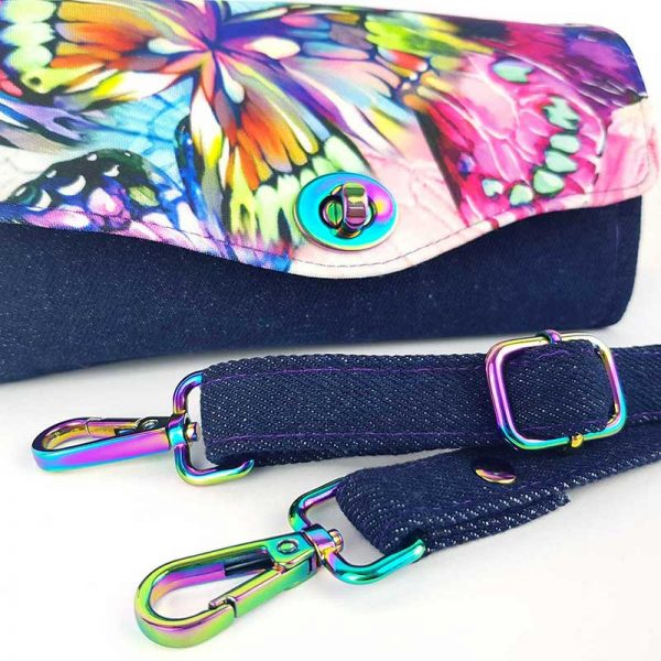 a stunning Clutch Wallet made in (Butterfly fabric & iridescent hardware)
