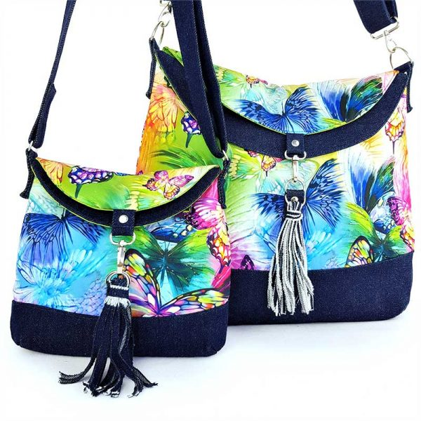 Luxury handmade Hobo bag mini and Hobo bag large in colourful Butterfly fabric and denim