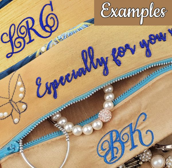 jewellery roll personalised embroidery examples
