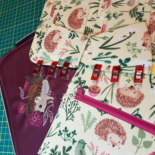 Handmade personalised luxury Purse Wallet Zip-around Hedgehogs Purple - in the making