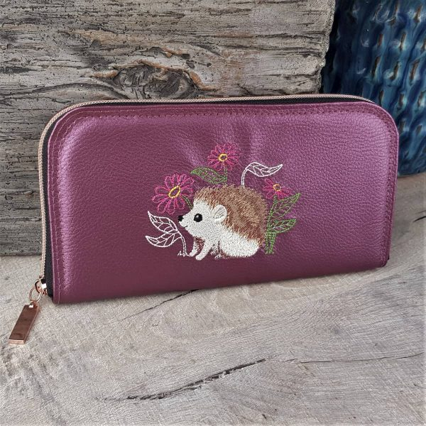 Handmade personalised luxury Purse Wallet Zip-around Hedgehogs Purple