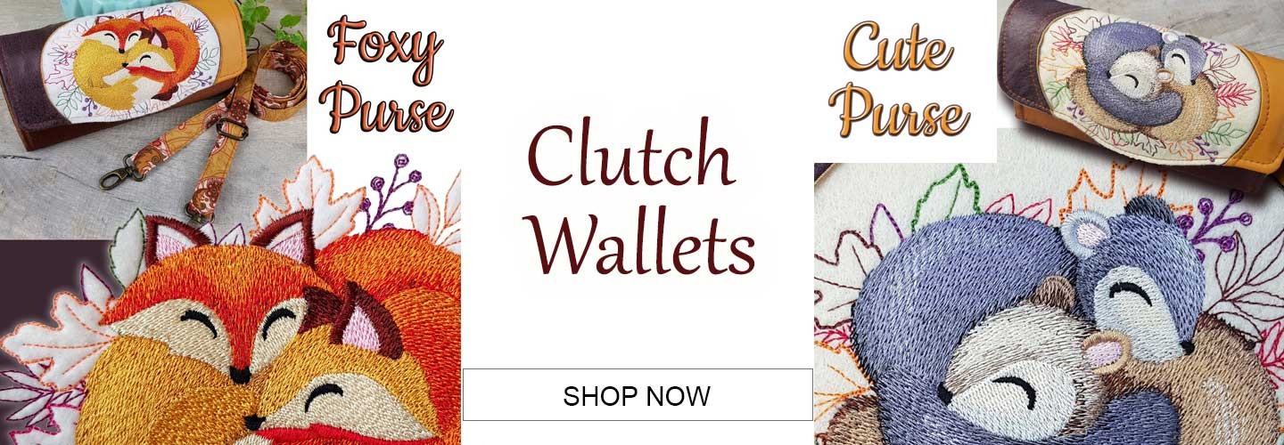 website banner featuring cuddling creatures on Clutch wallet purse handmade embroidered high quality custom luxury