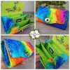 over the rainbow event product images. purse and bag in a stunning colourful rainbow fabric, personalised to your desire.